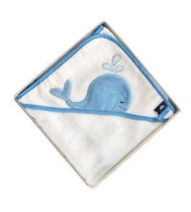 DOUDOU CAPE DE BAIN - Baleine bleue