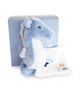 DOUDOU HIPPOCAMPE avec doudou - bleu
