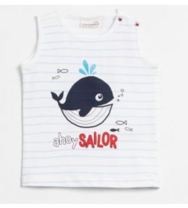 T-shirt sans manches Ahoy sailor Baleine