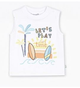 T-shirt sans manches Let's Play Blanc